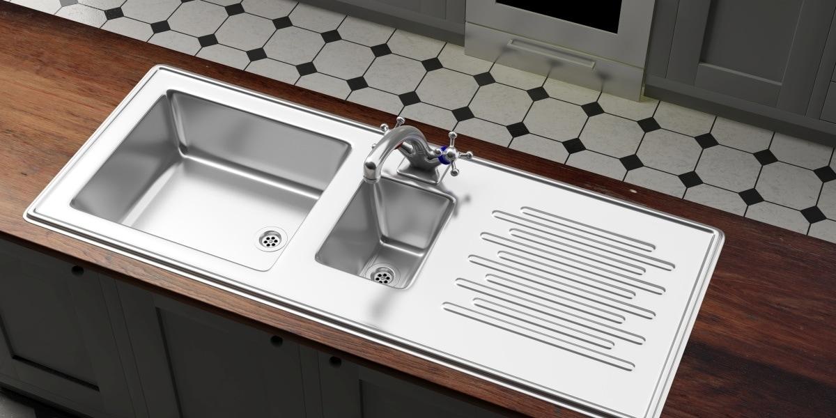 Klasyczny stalowy zlew z ociekaczem i dodatkową komorą