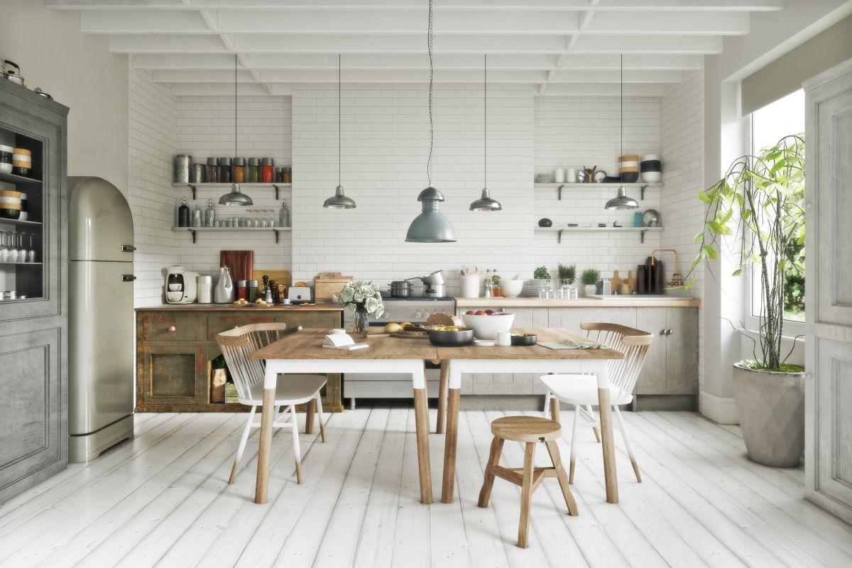 Biel i bielone drewno to połączenia często używane w kuchni w stylu skandynawskim