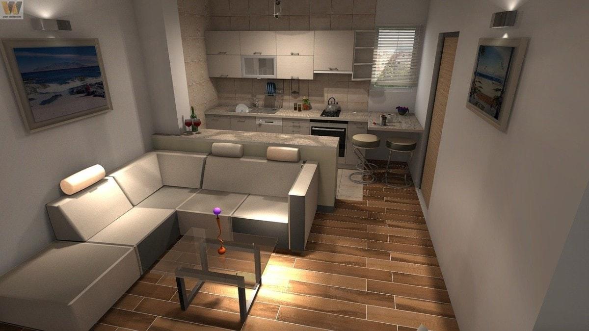 Połączenie kuchni z salonem jest doskonałym rozwiązaniem w przypadku niewielkich pomieszczeń