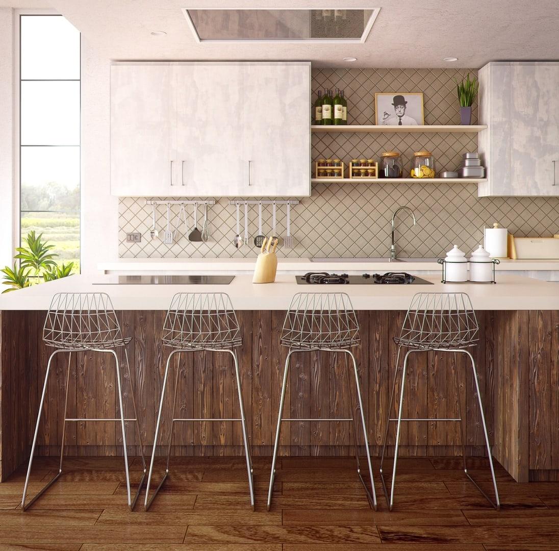 Lekka forma krzeseł barowych czyni kuchnię bardziej przestronną