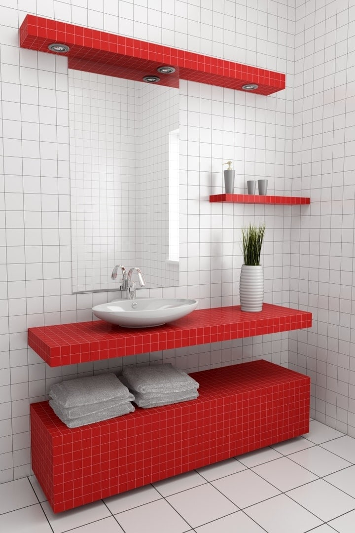 Minimalistyczna a jakże stylowa łazienka w czerwieni i bieli